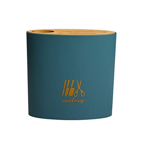 Portacuchillos Con Cubierta De Bambú, Para Tijeras Y Estante De Almacenamiento De Barra De Afilado, Estante Multifunción Para Cuchillos De Cocina Para El Hogar (Azul)