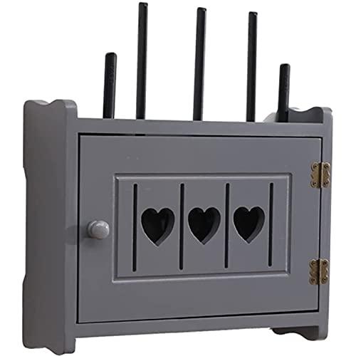 HSSZ Rack de enrutador inalámbrico Caja de Almacenamiento sin Perforaciones WiFi Set-Top Box Rack Caja Multimedia de Madera Maciza Almacenamiento Conveniente