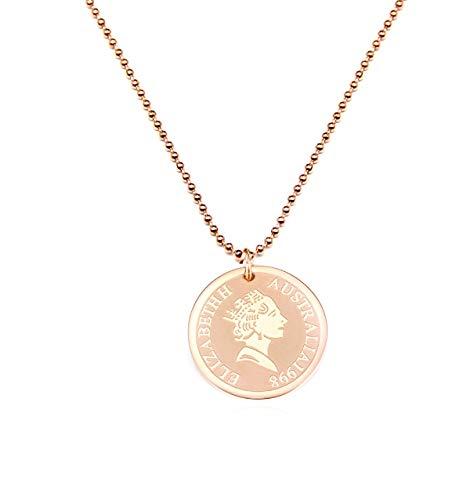Mixiueuro Vrouwen Meisjes Queen Coin Ketting 14k Rose Goud vergulde RVS Queen Coin Hanger Met Kralen Ketting Minimalistische Stijl Nikkel Gratis