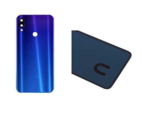 KIT 3 Pezzi Copri Batteria + biadesivo + lente compatibile per Xiaomi Redmi NOTE 7   NOTE 7 Pro M1901F7E M1901F7C retro Posteriore Back Cover Retro Scocca + adesivo + lente con cornice (Blu)