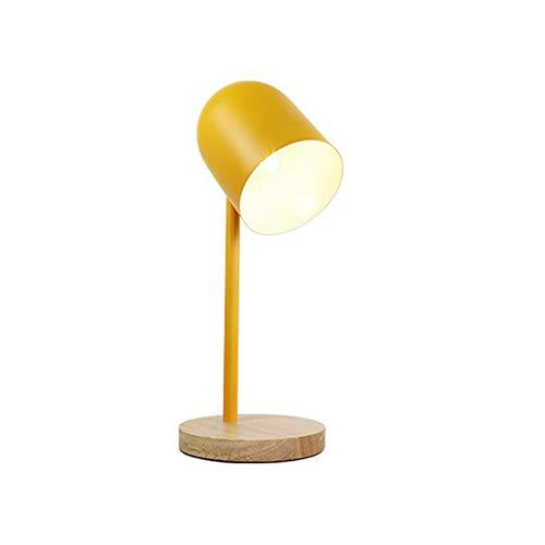 HENY LED Lámpara De Flexo Escritorio para Oficina Casa,Hierro Parajado Multicolor&;Madera De Goma Cuidado De Ojos Lámpara De Mesa,Botón del Interruptor De Encendido(Sin Fuente De Lu-Amarillo