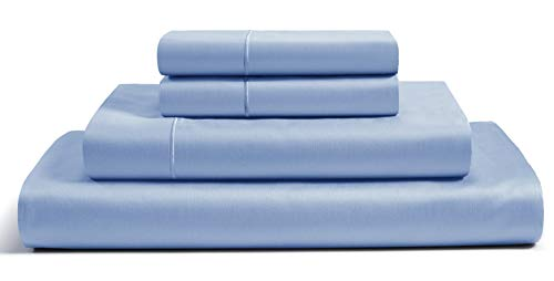 CHATEAU HOME COLLECTION 100% Egyptian Cotton Sheets Queen Size, 800 Thread Count French Blue 4 Piece Sheet Set, Solid Sateen Weave, 16' Deep Pocket (Fits Upto 18' Mattress), Cotton Bedsheet Set