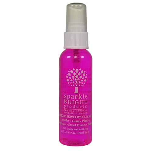 Sparkle Bright Products All-Natural Jewelry Cleaner | Liquid Jewelry Cleaning Solution | Ultrasonics, Diamonds, Fine, Fashion, and Designer Jewelry (2oz. Travel Spray)