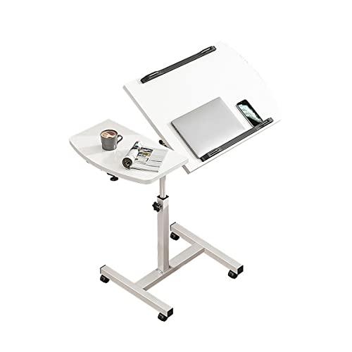Mesa Ordenador Portátil con Ruedas Y Soporte para Ratón Escritorio Laptop Altura Ajustable Mesa Auxiliar