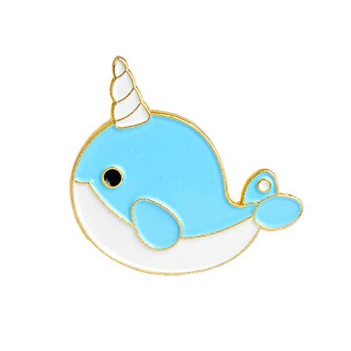 VIccoo Broche de Dama, Lindo Dibujo Animado delfín tiburón Ballena pez Esmalte Broche Pin Insignia Collar Abrigo decoración - I