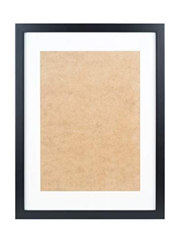 Deko Studio Bilderrahmen aus Echtholz mit Echtghalsabdeckung und Passepartout für A4 Format - Hergestellt in EU (Schwarz, 1 Rahmen)