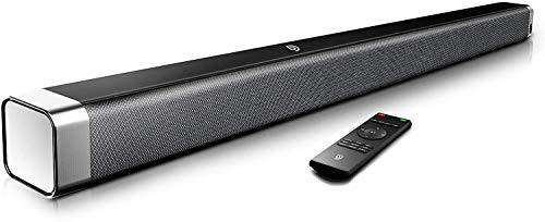Bomaker Soundbar 2.0 Kanal, 120 dB 37 Zoll Lautsprecher Bluetooth 5.0 mit Eingebaute Bass,DSP für TV (mit AUX,USB,Optischer Anschluss) Heimkino,Party-Schwarz