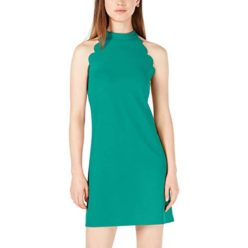 BCX Dress Junior Sheath Scallop Armhole Halter Mini Green XS