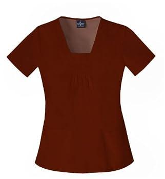 Baby Phat 26869 Women s Square Neck Scrub Top Brown XX-Large