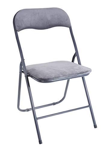 Spetebo Klappstuhl Metall mit Samtpolster - grau - Gästestuhl und Lehne - gepolsteter Beistellstuhl
