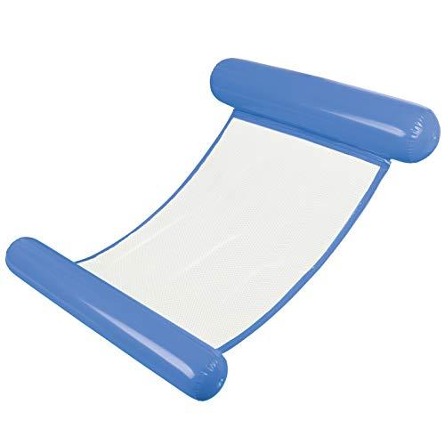 MAXXMEE Aufblasbare Wasser-Hängematte inkl. Netz | Luftmatratze Pool, Strand oder See, Pool Zubehör und Spielzeug | Wassermatratze [119cm, blau]