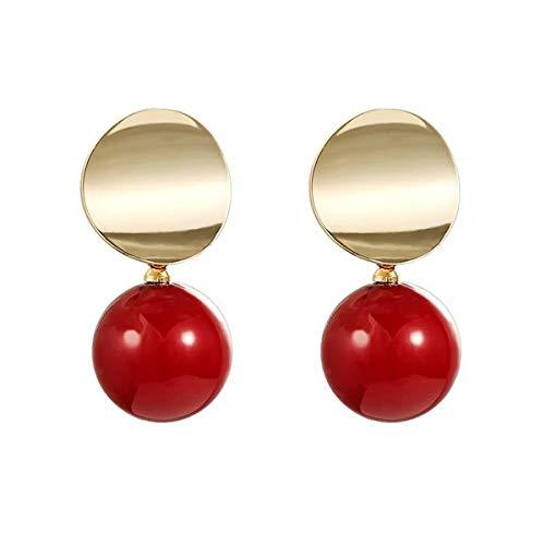 Mecool Pendientes colgantes Pendientes de perlas de imitación Pendientes de lágrima Pendientes de botón-dorado y rojo