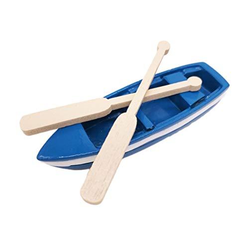 HEALLILY Bote de Remos en Miniatura Mini Bote de Madera Azul con Remos Figuras de Modelo de Canoa Miniaturas de Jardín de Hadas Decoraciones Náuticas para El Hogar