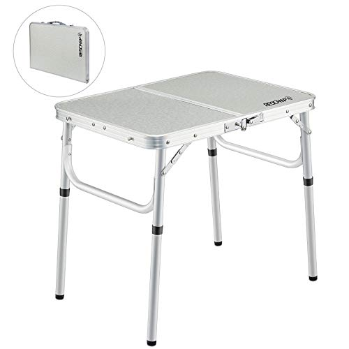 REDCAMP Small Folding Camping Table Portable Adjustable Height Lightweight Aluminum Folding Table for Outdoor Picnic Cooking, White 2 Foot (3 Heights)