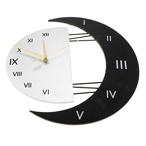 D DOLITY - Reloj de pared con diseño de luna/estrellas, cuarzo, sin...