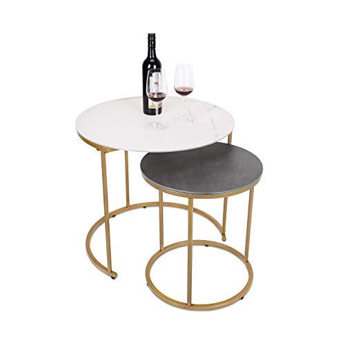 Moncot modrner ET219AB-WG - Tavolino da salotto, rotondo, con struttura in ottone e metallo, impermeabile, in vetro temperato