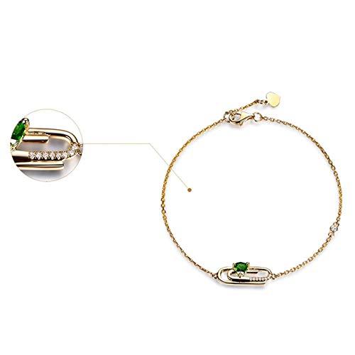ANAZOZ Bracciale Donna Oro Giallo 18K,Verde Oro Bracciale 750 Donna Geometrico Diopside Verde 0.33ct 19CM