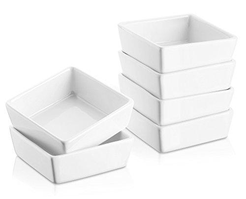 DOWAN Ramekins 6 oz Oven Safe - Square Ramekins for Creme Brulee, Porcelain SouffleRamekins for Baking, Dessert Bowls Appetizer Bowls DippingSauceDish, Set of 6, White