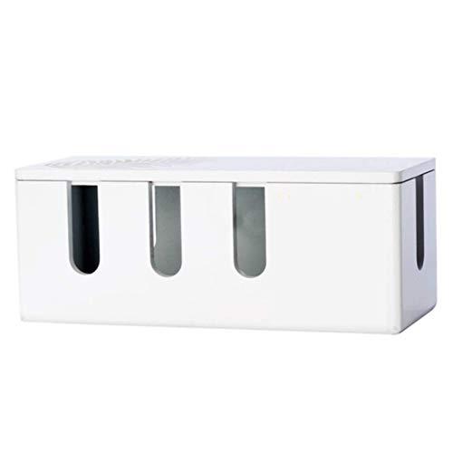 WYJRF Caja Organizadora de Cablesde Madera, para Guardar Cargadores, Caja de Cables para Gestión de Cables, Caja de Administración de Cables, Blanco