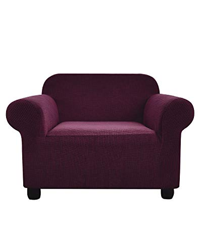 """Argstar 1 Piece Stretch Elastic Fuchsia Armchair Cover Non Skid Spandex Jacquard Duable Sofa Slipcover Fitted Purple Red Couch Covers for 1 Cushion Seat for Living Room (30""""-43"""", Small, Magenta)"""