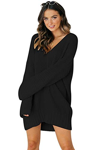 Vestidos de Punto Mujer Talla Grande Sueter Cuello V Sweater