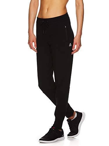 Reebok Women's Slim Fit Jogger Pants - Mid Rise Waist Athleisure Sweatpants for Women - Essential Black, Small