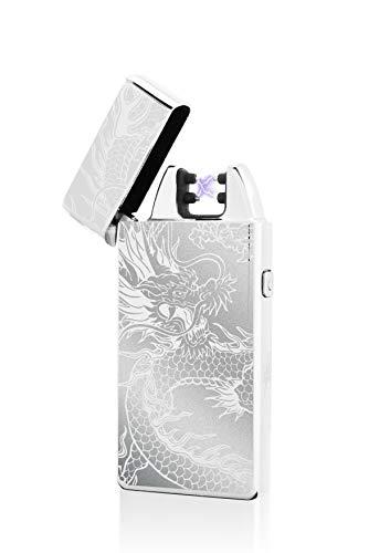 TESLA Lighter TESLA Lighter T05 Lichtbogen Feuerzeug, Plasma Single-Arc, elektronisch wiederaufladbar, aufladbar mit Strom per USB, ohne Gas und Benzin, mit Ladekabel, in edler Geschenkverpackung, Drache Silber Silber