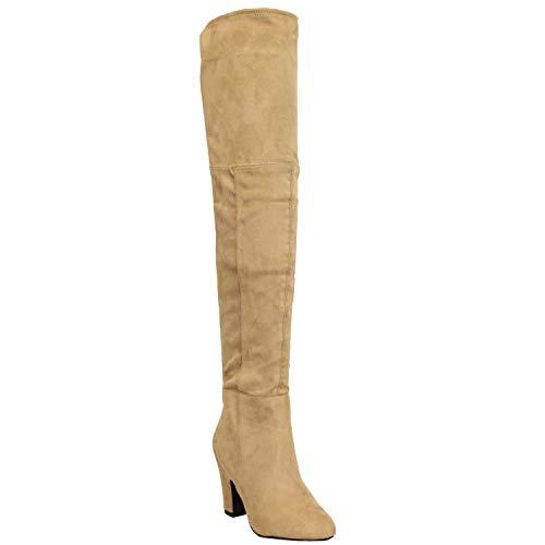 Femmes Bottes Long Au Dessus Du Genou Cuir Suédé Look Chaussures Par Kelsi - Champignon - OWEN, 7 UK