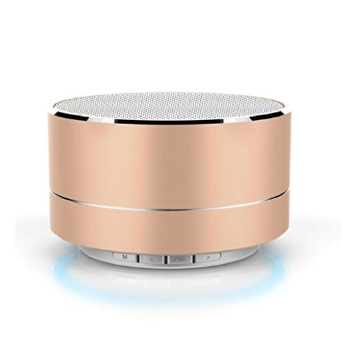 DFSDG Altavoz Bluetooth inalámbrico portátil, Altavoz Bluetooth estéreo inalámbrico de Aluminio con Altavoz Manos Libres Caja de Sonido con Ranura para Tarjeta Micro SD TF incorporada (Color : Gold)