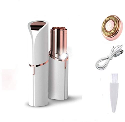 depilatore di peli facciale, epilatore peli facciale, depilazione con rossetto, indolore E Portatile, per Donna (USB + 1testa Extra di ricambio) bianco