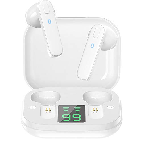 BAHER Auriculares Inalámbricos R20 True Control de Botón Inteligente Bluetooth 5 0 con Funda de Carga Inalámbrica IPX7 Impermeable Pantalla de Potencia en Tiempo Real Micrófono