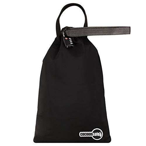 Cocoonsafe | Tragbare Anti-Diebstahl Tasche Cocoon 8L | Schnittfest | Mobiler Reisesafe & Strandsafe mit TSA-Zahlen Schloss | 8 Liter Volumen | Schwarz