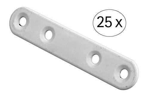 Hettich Verbindungsblech (Stahl, weiß, 15 x 80 mm, Inhalt: 25 Stk.) 9220026