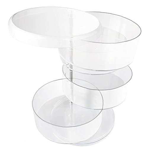 Joyería de la caja de almacenaje Organizador redondo de 360 ??grados de rotación de 4 capas de Navidad transparente para los anillos y los pendientes del collar pulseras, almacenamiento papeleras