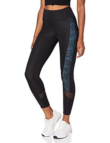 Marque Amazon - AURIQUE Legging de Sport Femme, Noir (Black/Snake Print/Black Mesh), 40, Label:M