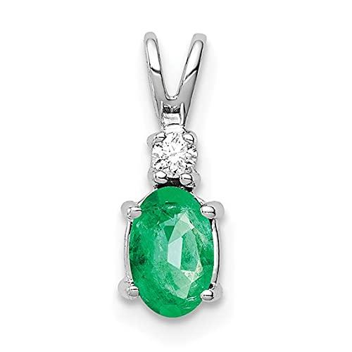 Jewelry-14k White Gold 6x4mm Oval Emerald A Diamond pendant
