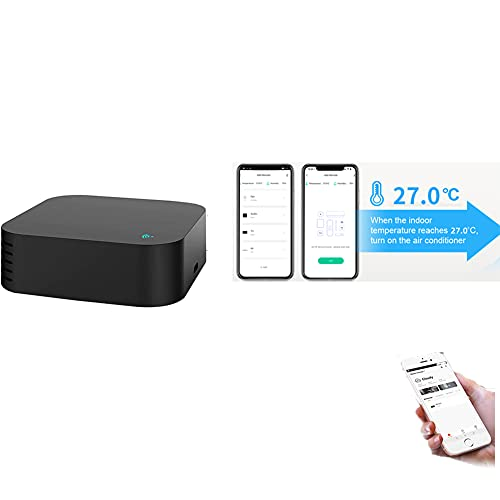 Smart WiFi IR Remote Control Hub with Temperature and Humidity Sensor, IR Blaster Controller,Tuya APP Control,Voice Control, Compatible with Alexa Google Home, for Air Conditioner,TV,Fan,Curtain