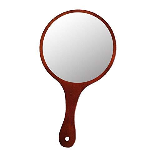 Injoyo Vintage Style Mirroir à Main Miroir de Maquillages Portable en Bois - Marron foncé