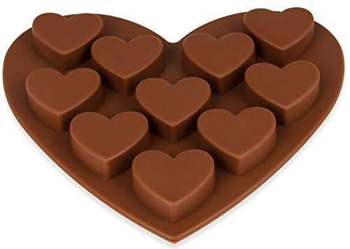 BlueFox Pralinenform Silikon I Silikonform Herzchen I Eiswürfelform I Herz Schokoladenform I Süßigkeiten Dekoration Förmchen für Bonbon Schoko Fondant Heart Mould, Silicone, Farbe: Braun