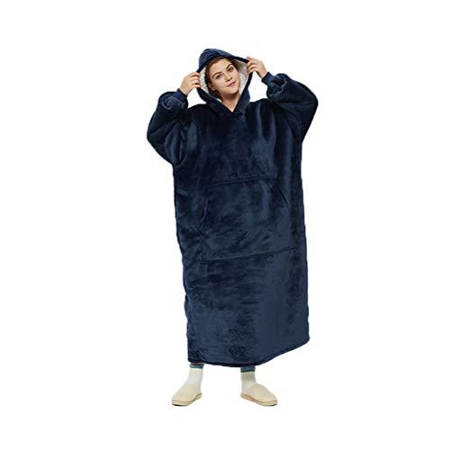 Coperta indossabile con cappuccio, coperta lunga oversize con morbido pile sherpa, taschine – spessa felpa gigante con cappuccio, coperta per tv pigro pigiama per adulti donne e uomini (Navy)
