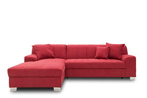 DOMO collection Capri Ecksofa   Eckcouch in L-Form mit Schlaffunktion, Polsterecke Schlafsofa, bordeaux rot, 239x152x75 cm