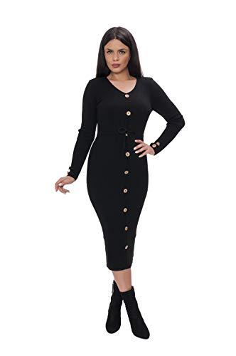 Miss Noir Damen Lange Strickkleid 3/4 langärmlig mit V-Ausschnitt Winterkleider Pulloverkleid Cocktailkleider Kleid Freizeit (Schwarz)