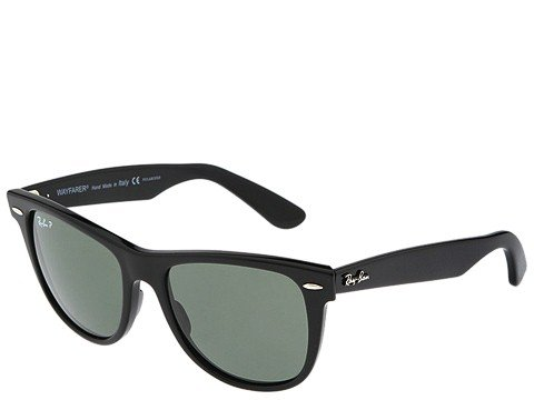 1950s Sunglasses & 50s Glasses | Retro Cat Eye Sunglasses Ray-Ban RB2140 Original Wayfarer Polarized 52 BlackNatural Green Polarized Lens Sport Sunglasses $163.20 AT vintagedancer.com