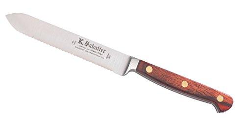 K SABATIER - Couteau Tomate 13 Cm Gamme Auvergne - Acier Inoxydable - Manche Bois - 100% Forge - Entièrement Fabrique en France
