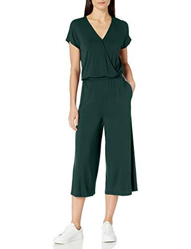 Amazon Essentials Short-Sleeve Surplice Cropped Jumpsuits-Apparel, Jade, US L (EU L - XL)