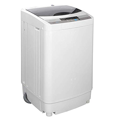 HomGarden Full-Automatic Washing Machine Portable Compact 10 lbs Top Load Multifunctional Laundry Washer/Spinner w/Drain Pump & Drain Pipe, 5.74 FT Power Cord