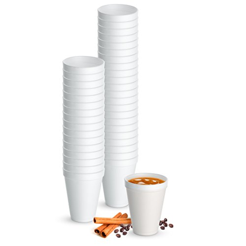 12 Oz. Disposable Hot Cups - White Styrofoam Drinking Teacup - (Pack of 48) Foam Cups for Hot & Cold Beverages
