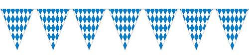 Beistle Plastic Oktoberfest Bavarian Pennant Banner For German Theme Party Supplies, 11 x 12, Blue/White
