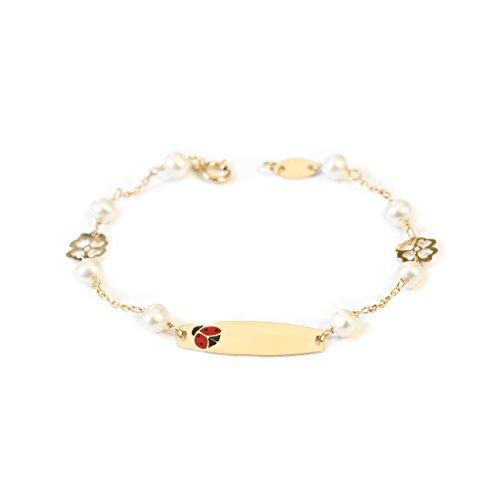 Monde Petit G1227PU - Bracciale per bambini targuetta coccinella e perle, oro giallo 18k (750)