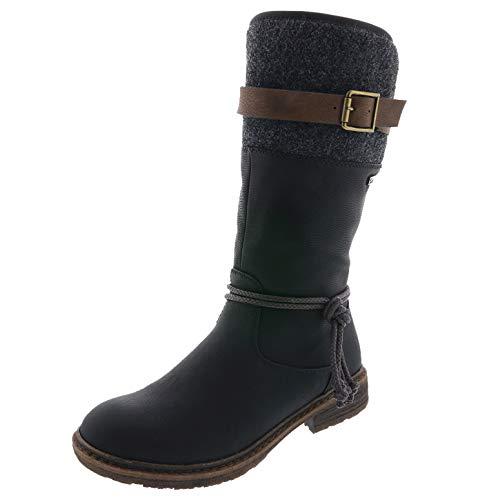 Rieker Damen Stiefel 94778, Frauen Winterstiefel,riekerTEX, Winter-Boots langschaftstiefel warm,schwarz,40 EU / 6.5 UK
